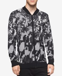 Calvin Klein Men's Abstract Print Full Zip Sweater Black