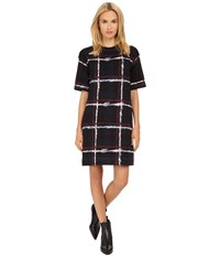Marc By Marc Jacobs Chalky Tartan Print Short Sleeve Sweater Dress Gettysburg Blue Multi Women's Dress