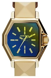 Women's Diesel 'Z Back Up' Iridescent Crystal Leather Wrap Watch 23Mm