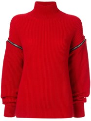 Msgm Zipped Sleeve Turtle Neck Jumper Red