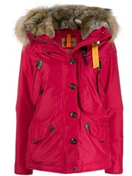 Parajumpers Fur Trimmed Padded Coat Red