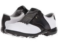 Footjoy Dryjoys Cleated Traditional Blucher Saddle White Black Golf Shoes