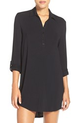 Pj Salvage Women's Jersey Henley Night Shirt Black