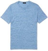 Theory Koree Melange Linen T Shirt Blue