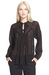 Women's Rebecca Taylor Coupe Silk Blend Peasant Top Black