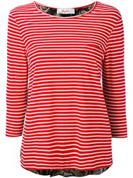 Jucca Three Quarters Sleeve Striped T Shirt Women Cotton S Red
