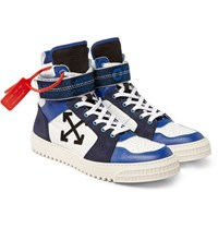 Off White Industrial Panelled Ripstop Suede And Leather High Top Sneakers Blue