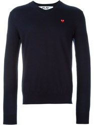 Comme Des Gara Ons Play Embroidered Heart Jumper Blue
