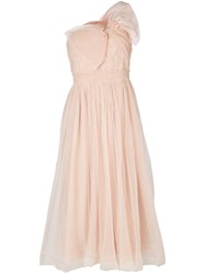 Red Valentino One Shoulder Bow Detail Tulle Dress Women Polyamide Polyester 42 Nude Neutrals
