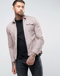 Religion Regular Fit Shirt With Zip Through Front In Cotton Twill Dusk Grey