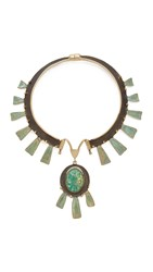 Tory Burch Oxidized Statement Collar Necklace Green Oxidized Gold