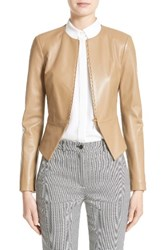 Michael Kors Women's Lambskin Leather Peplum Jacket Chino