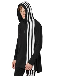 Y 3 Stripes Hooded Cotton Long T Shirt