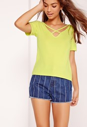 Missguided V Neck Cross Strap Front T Shirt Yellow Yellow