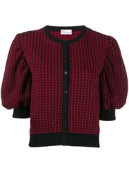 Red Valentino Jacquard Knit Bell Sleeved Cardigan Red