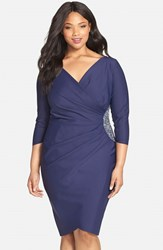 Plus Size Women's Alex Evenings Embellished Side Ruched Jersey Cocktail Sheath Dress Navy