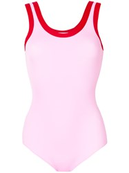 Valentino Scoop Neck Swimsuit Pink And Purple
