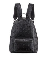 Mcm Ottomar Men's Logo Embossed Leather Backpack Black