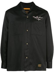 Neighborhood Rear Embroidery Buttoned Shirt Black