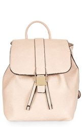 Topshop Mini Glasgow Faux Leather Backpack Beige Camel