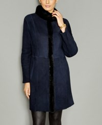 The Fur Vault Mink Trim Shearling Lamb Coat Navy Black