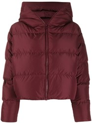 Bacon Cloud Hooded Puffer Jacket Red
