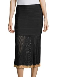 Herve Leger Pleated Knit Skirt