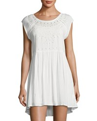 Romeo And Juliet Couture Eyelet Trim Shift Dress White