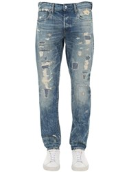 G Star 3301 Destroyed Tapered Denim Jeans Blue Aged