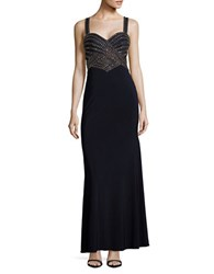 Betsy And Adam Beaded Sleeveless Column Gown Navy