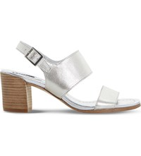 Dune Jesica Metallic Leather Sandals Silver Leather
