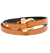 Tom Ford Leather Gold Tone Wrap Bracelet Tan