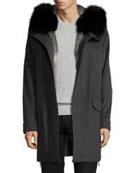 Yves Salomon Fur Lined Cashmere Parka With Fox Fur Hood Gray