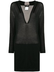 Chanel Vintage Deep V Neck Sweater Black