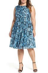 Gabby Skye Plus Size Women's Print Lace Fit And Flare Dress