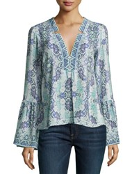 Nanette Lepore Dewdrop Long Sleeve Silk Kaleidoscope Top Purple Blue Multicolor Purple Pattern