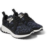 Neil Barrett Leopard Print Denim And Suede Sneakers