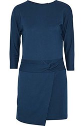 Halston Twist Front Stretch Ponte Mini Dress Indigo