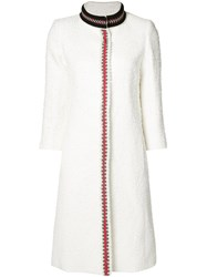 Oscar De La Renta Embroidered Trim Coat White