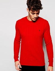 Jack Wills Cable Jumper With Crew Neck In Red