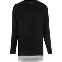 River Island Mens Black Layered Jumper
