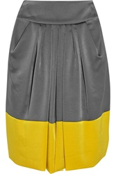 Valentino Color Block Pleated Satin Skirt Gray