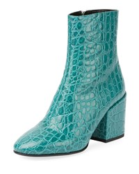 Dries Van Noten Embossed Leather Ankle Booties Forest