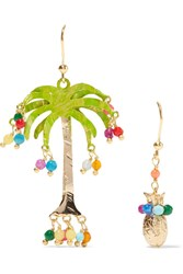 Rosantica Honululu Gold Tone Quartz Earrings Green