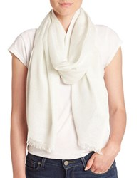 Lord And Taylor Shimmer Frayed Scarf Ivory