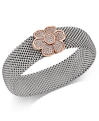 Macy's Diamond Mesh Flower Bangle Bracelet 7 8 Ct. T.W. In Sterling Silver And 14K Rose Gold Plate Two Tone