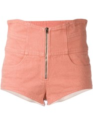 Isabel Marant High Waisted Shorts Women Cotton 38 Pink Purple