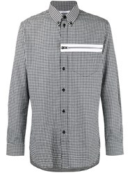 Givenchy Gingham Print Zip Front Shirt Black