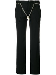 Jean Paul Gaultier Vintage Straight Trousers With Chain Belt Black