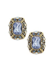 Heidi Daus Crystal And Rhinestone Button Stud Earrings Tanzanite